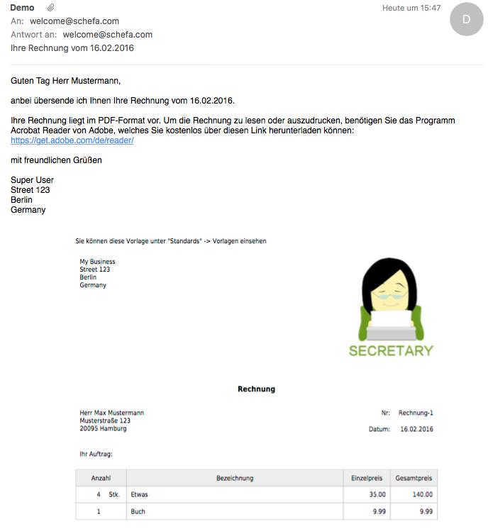 Dokumente Zb Rechnung Via Email Versenden